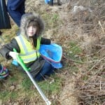 Some of the Children from Bournmoor School taking part in litter picking to help tidy up the grounds around school.